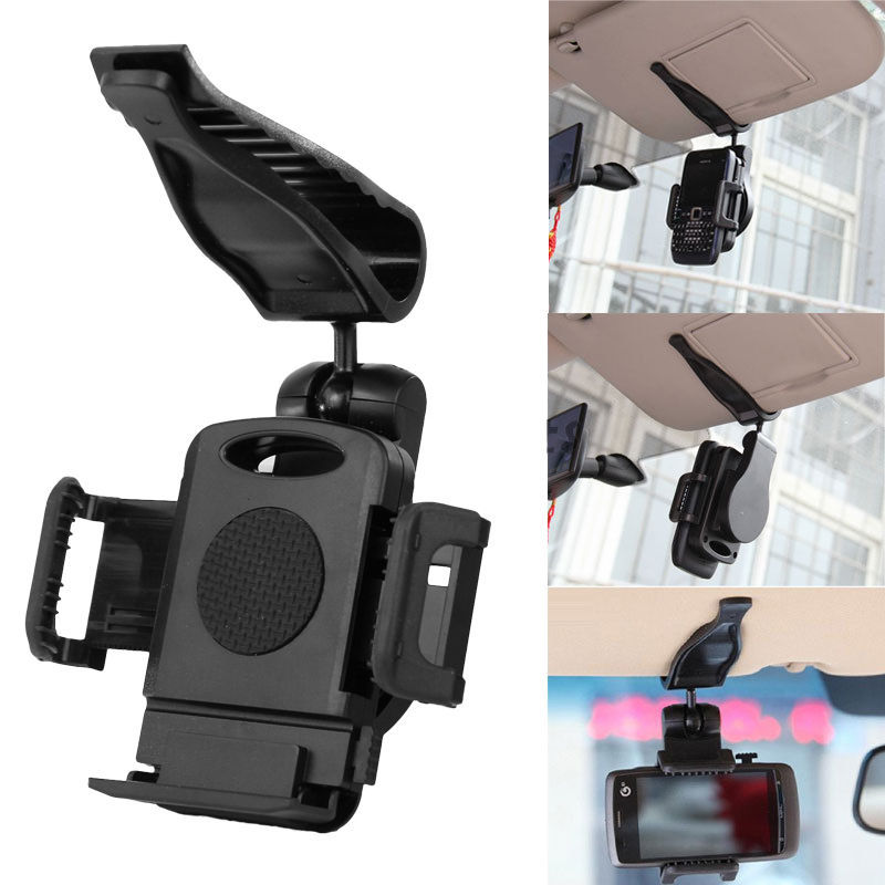 Universel 360 voiture Clip pare-soleil cellule support de téléphone support suporte para celulaire pour iphone 6 6s 7 8 X Plus GPS mp3 mp4