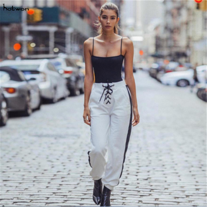 high waist pencil   pants     capris   Women bottom sash streetwear casual   pants   2018 Autumn chic winter trousers