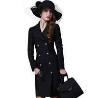 Europe And The United States Autumn And Winter Women S High End Retro Long Sleeved Striped