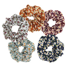 Furling Girl 1PC Country Small Floral Chiffon Fabric Hair Scrunchies Elastic Bands Spring Flower Ponytail Hold