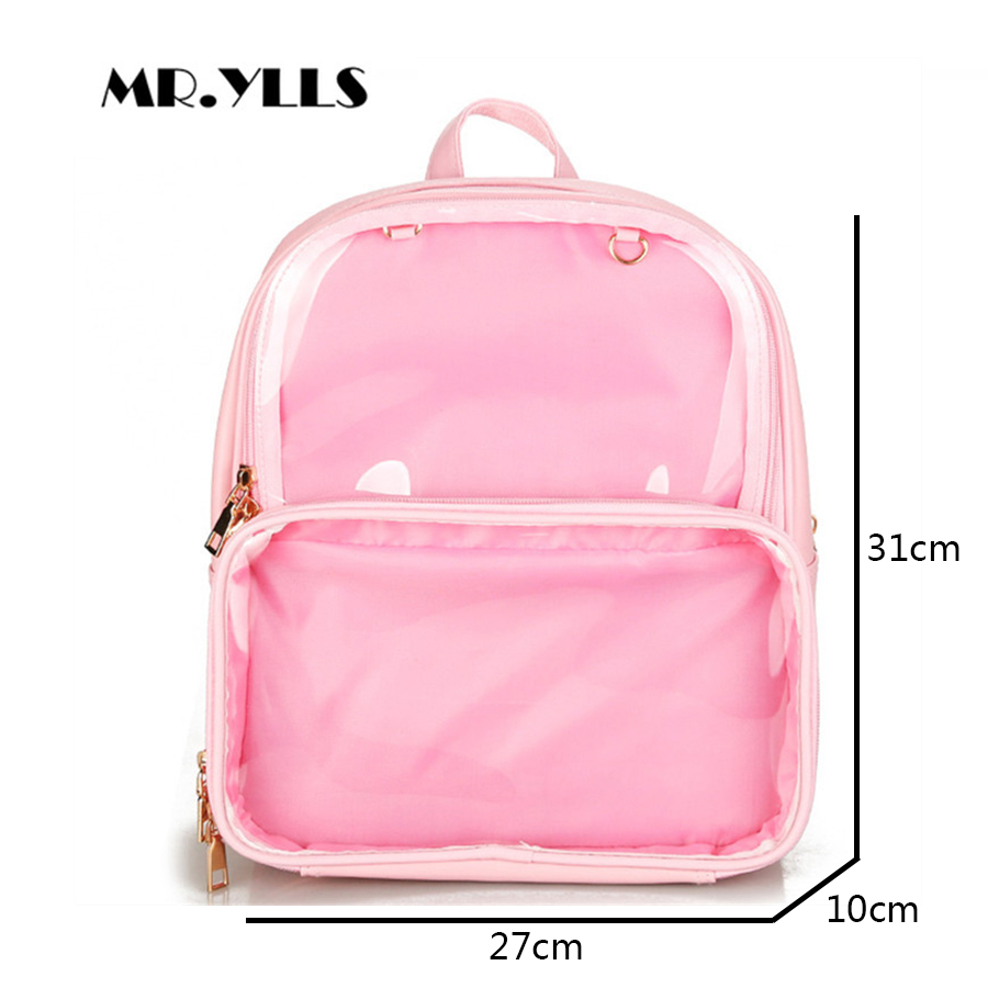 Cute Clear Transparent Women Backpacks Pvc Jelly Color Student Schoolbags Fashion Ita Teenage Girls Bags For School Backpack New #4