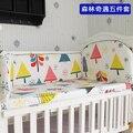 ¡ Promoción! 5 UNIDS baby bedding set 100% algodón cortina tope del pesebre del bebé cuna juegos de cama de bebé, incluyen: (parachoques + hoja)