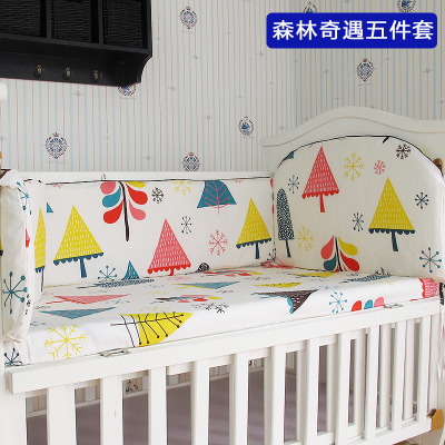 Promotion! 5PCS baby bedding set 100% cotton curtain crib bumper baby cot sets baby bed,include:(bumpers+sheet)