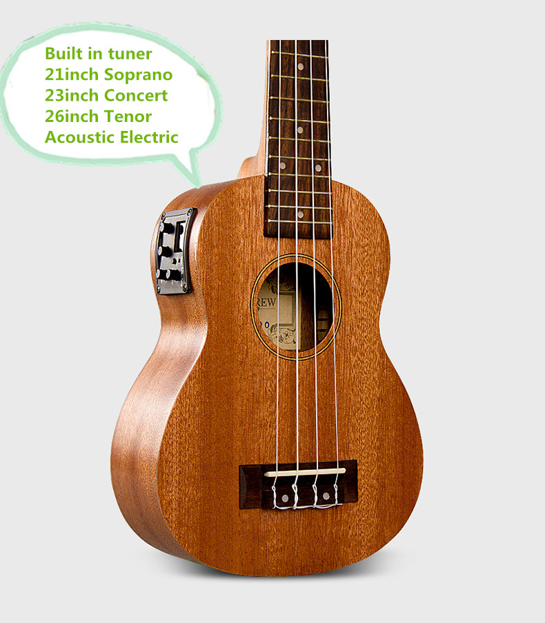 Soprano Concert Tenor Acoustic Electric Ukulele 21 23 26 Inch Mahogany Small Guitar 4 String Ukelele Guitarra Built In Tuner Uke soprano concert tenor ukulele 21 23 26 inch hawaiian mini guitar 4 strings ukelele guitarra handcraft wood mahogany musical uke