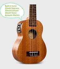 Soprano Concert Tenor Acoustic Electric Ukulele 21 23 26 Inch Mahogany Small Guitar 4 String Ukelele Guitarra Built In Tuner Uke