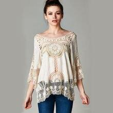 Женская кружевная блузка с вышивкой белая защитой от солнца