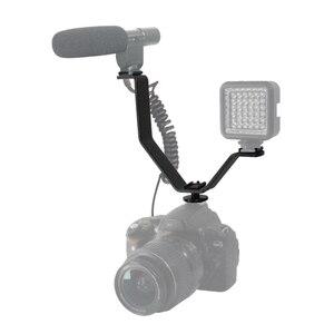 Image 3 - Dual Blitzschuh V Halterung für Videoleuchten Mikrofone Monitore auf und Camcorder 1 STÜCK