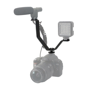 Image 3 - Dual Hot Shoe V Mount Bracket for Video Lights Microphones Monitors on Cameras and Camcorders 1PC