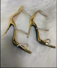 Горячие продажи bling хрустальные украшения высокой пятки сандалии золото кожа лодыжки ремень гладиатор сандалии женщина тонкие каблуки сандалии размер 10