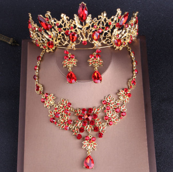 Baroque Vintage Gold Red Crystal Bridal Jewelry Sets Rhinestone Tiaras Crown Choker Necklace Earrings Set Wedding Accessories Fashion Jewelry
