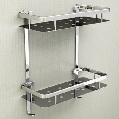 modern senior 304 stainless steel silver corner basket rack bathroom shelf 2layer triangle bathroom - Corner Bathroom Shelf