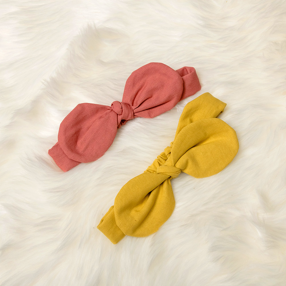 1 Pcs Girls Solid Color Pink And Yellow Rabbit Ears Shape Round Headband Hair Accessories Lovely Fashion Head Wrap Chills And Pains