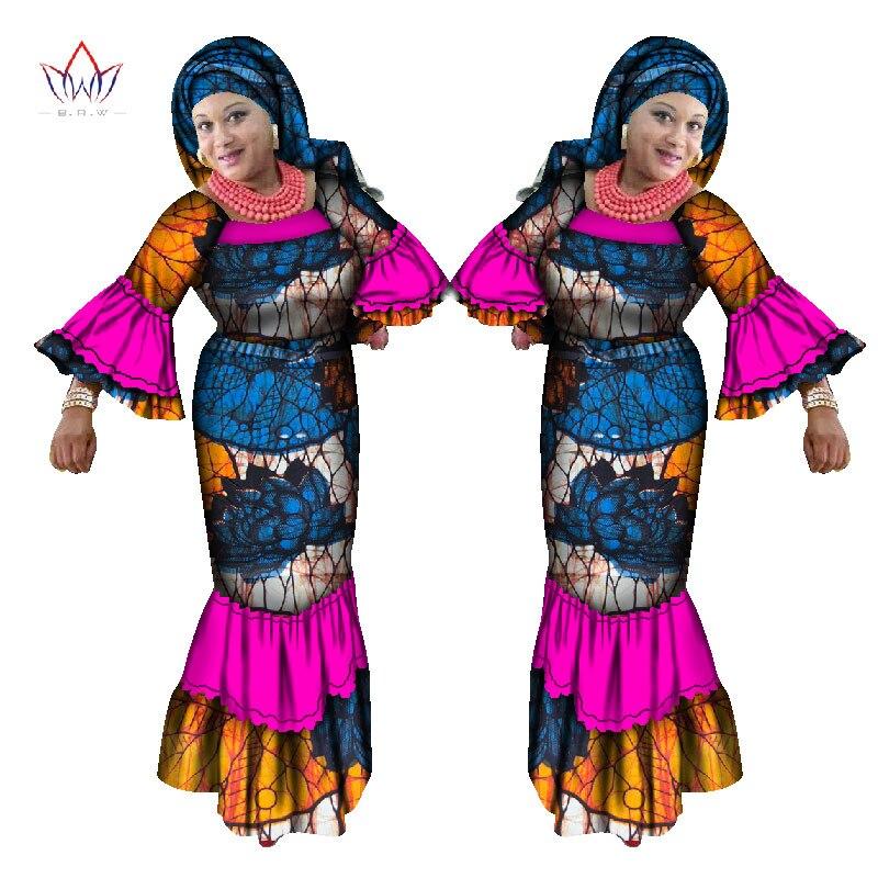 BRW Tradiční africké oblečení pro ženy Dashiki Tiskové šaty Maxi Šaty Party Oblečení Plus Velikost Dámské oblečení 6XL WY1649