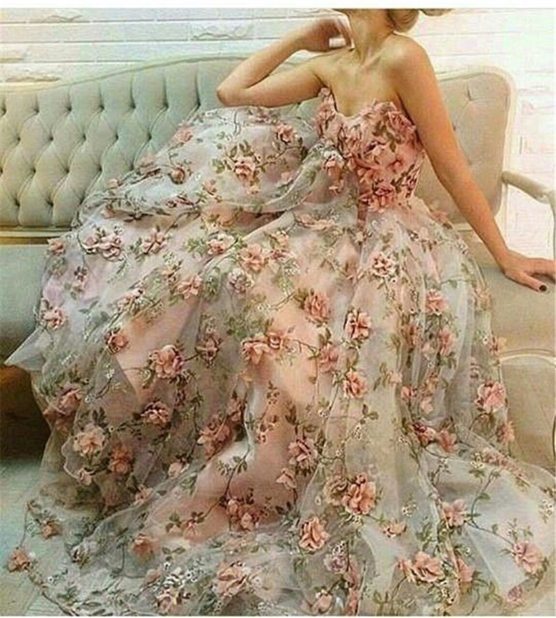 Flower Wedding Gown: Sexy Elie Saab Long Formal Evening Party Dress Ball Gown