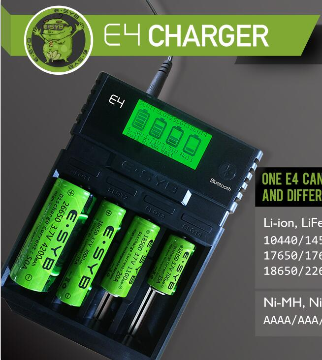 New Arrive E SYB E4 Rechargeable Batteries charger Ni-MH and Ni-Cd AAA AA battery and Li-ion 18650 26650 10440 18350 14500 16340 evewher lcd 18650 battery charger 4 slots lithium battery charger for 26650 18650 14500 aa aaa charging li ion batteries charges