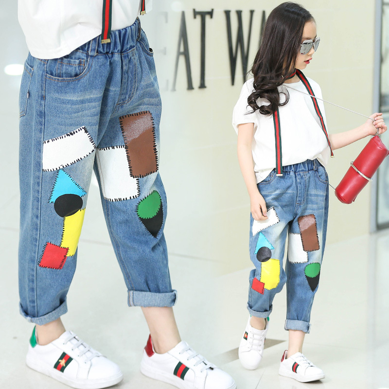Children Patchwork Jeans Girls Pants Brand Fashion Spring big Kids Denim Trousers Children Clothing Print Casual
