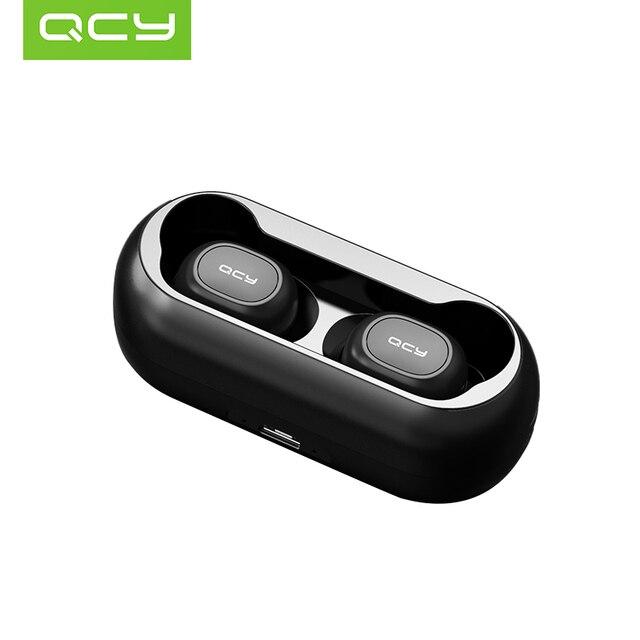 QCY QS1 T1C Mini podwójny V5.0 bezprzewodowe słuchawki Bluetooth słuchawki 3D dźwięk Stereo słuchawki douszne z podwójny mikrofon i okno ładowania