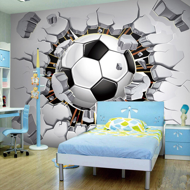 Attractive Custom Any Size 3D Stereoscopic Photo Wallpaper For Kids Room Modern  Creative Football Broken Wall Mural Bedding Room Backdrop In Wallpapers  From Home ... Part 23