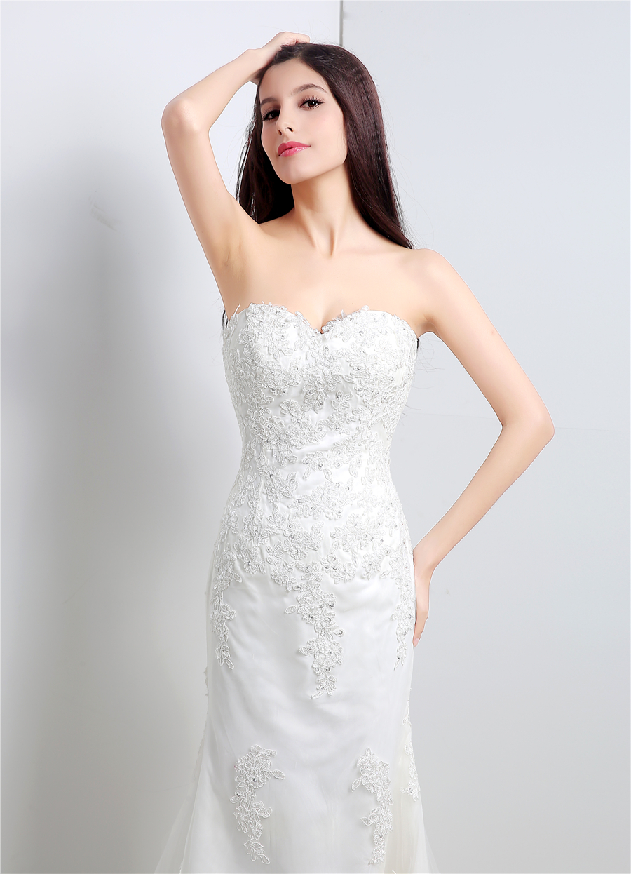 In Stock White/Ivory Applique Lace With Beading Wedding Dress Bandage Dropped Bridal Dress Robe De Mariage Vestido De Noiva 4