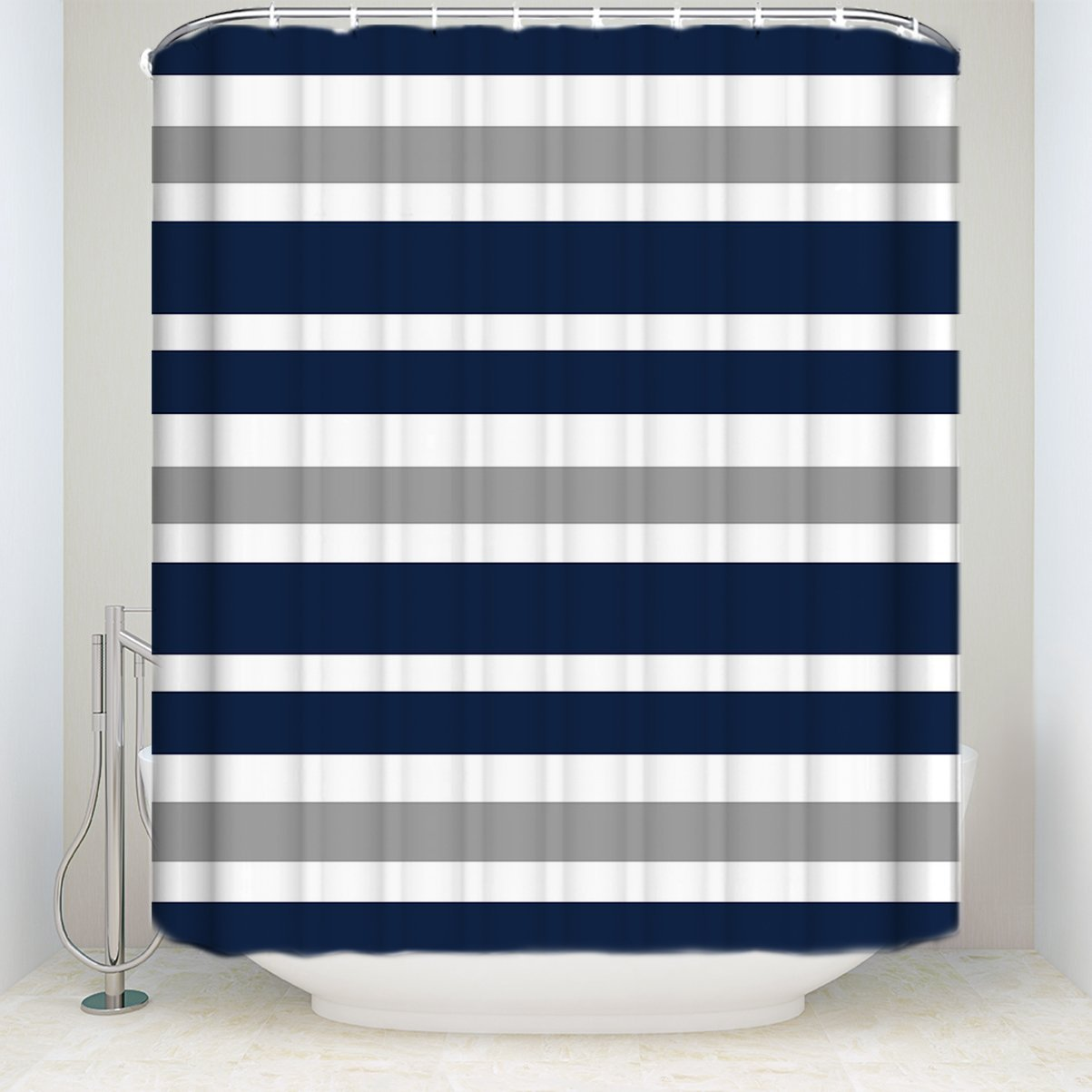Us 17 34 35 Off Designs Navy Blue Gray And White Kids Bathroom Waterproof Polyester Fabric Bath Teen Stripe Shower Curtain Shower Curtains In Shower