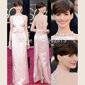 2015 Oscar Vestidos de Noche de Raso Hermosa Rosa Vestido Formal Elegante Celebrity Vestido Por Encargo de la Alfombra Roja Vestido de la Nueva Llegada