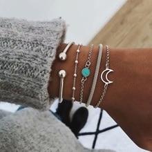 цена на Bohemia Charm Bracelets for Woman Silver Link Hollow Out Moon Stone Cuff Chain Fashion Friendship Bracelet Female 2019 Jewelry