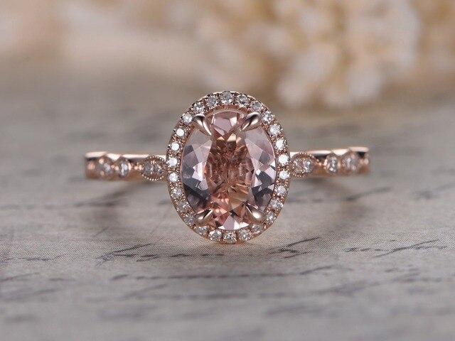 Myray 6x8mm Oval Natural Pink Morganite Gemstone Diamond Vintage Wedding Ring 14k Rose Gold Engagement Rings