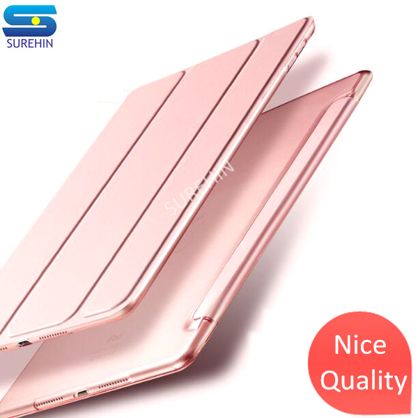 SUREHIN Nice smart leather case for apple iPad 4 3 2 cover case transparent hard back flip kid sleeve key protection slim skin