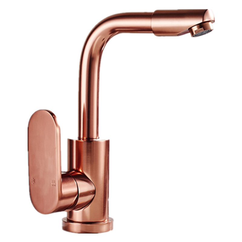 DONYUMMYJO Deck mounted Space Aluminum rose gold basin mixer tap with single handle rose kitchen sink faucets