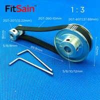 FitSain-ancho de banda 10mm 2GT 20 T: 60 dientes polea de aleación de aluminio relación de reducción 1:3 agujero central sincrónico de la rueda 5-6-8-10-12mm