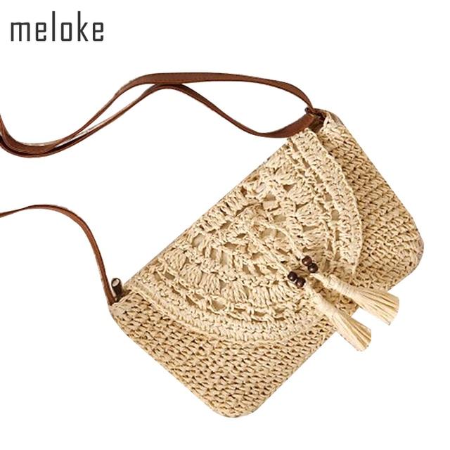 297172aaf Meloke 2018 artesanal de palha bolsa de ombro sacos de moda feminina bolsa  pequena transversal do