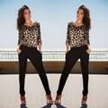 Preto Backless Rompers Womens Jumpsuit Longo 2017 Sexy Estampa de Leopardo Senhora Macacões Clubwear Mulheres Fino Bodysuit Macacão Feminino