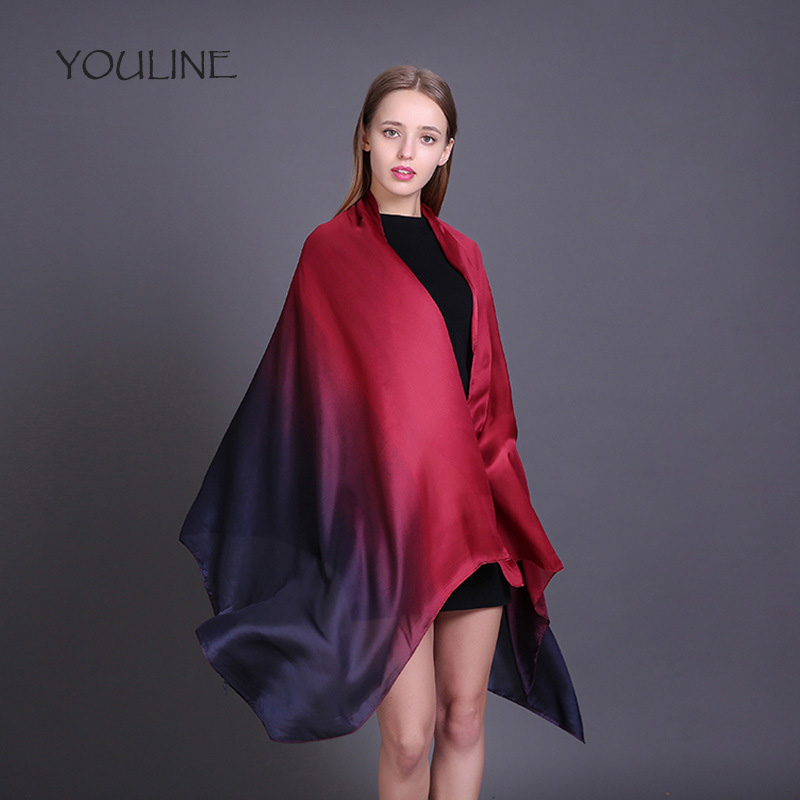 YOULINE 2018 Natural Silk Women   Scarf   Shawl Female Pure Silk   Scarves     Wraps   echarpes foulards femme Long Beach Cover-ups S17246