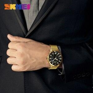 Image 4 - Reloj de cuarzo SKMEI de marca de lujo para hombre, relojes de pulsera con correa de oro para negocios, relojes de pulsera para hombre a prueba de agua, reloj Masculino 9166