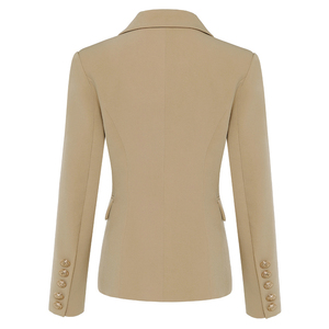 Image 3 - Newest 2020 Designer Blazer Jacket Womens Lion Metal Buttons Double Breasted Blazer Star Style Outer Wear Khaki