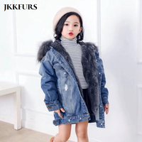 Kid's Real Fur Parka Genuine Rabbit Fur Lining With Real Raccoon Fur Collar Winter Warm Fur Jacket For Children S7442