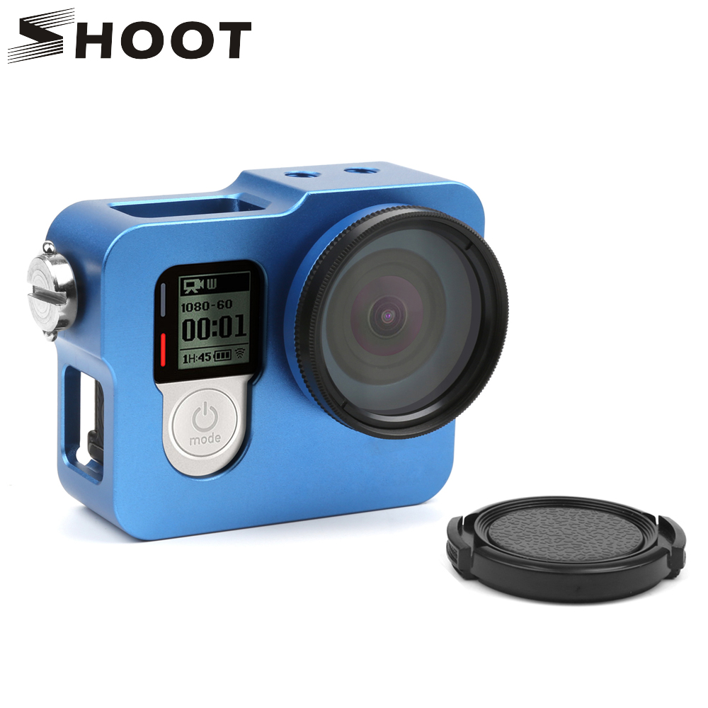 SHOOT Aluminum Alloy Frame Housing Case Protective Rugged Cage With Go Pro 4 UV Lens Cap for GoPro Hero 4 Silver Black Camera protective aluminum alloy bumper frame case for iphone 6 4 7 light blue