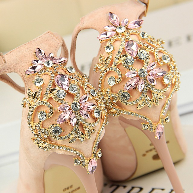 BIGTREE Elegant Crystal Pointed Toe Wedding Shoe 2018 New Women's Solid Flock Fashion Buckle Shallow High Heels Shoes for Women 2