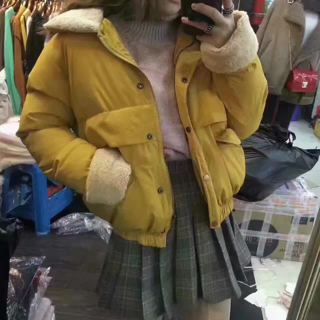 2016 winter short design bread service cotton-padded jacket female loose berber fleece thickening wadded jacket outerwear