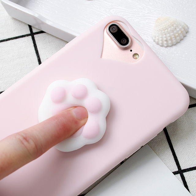 57a03b9b991a08 For iPhone 5S Case Lovely 3D Silicone Cartoon Cute Cat Paw Sea Lion Soft  TPU Squishy Case For iPhone X XS XR XS MAX 6S 7 8 Plus