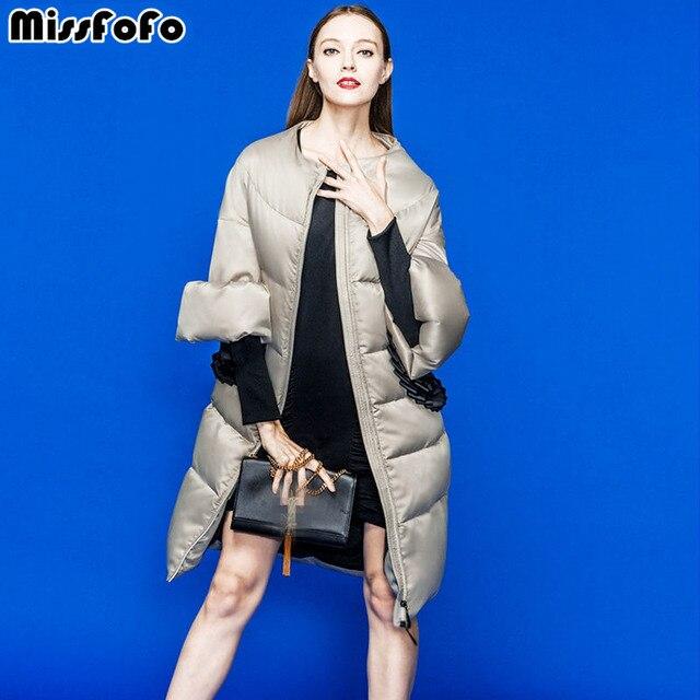 Missfofo Марка Новинка 2016 года, модная пуховая куртка Wommen пальто Верхняя одежда Размеры L-XXL