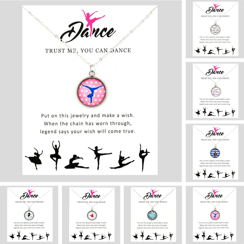 Live Love Dance Ballet Dancer Dancing Gymnastics Girls Pendants Necklaces Unicorn Horse 18mm Glass Cabochon Women Jewelry Gift