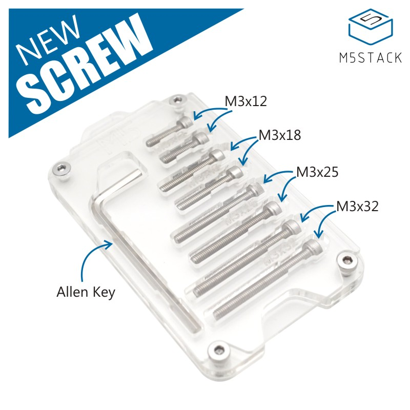 M5Stack Official! New 8 PCS M3*12/18/25/32 Screw With Allen Key For Arduino ESP32 Core Development Kit