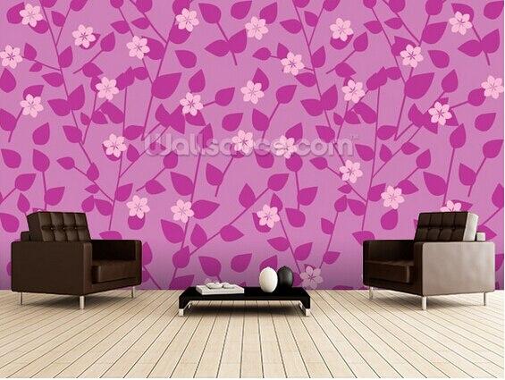 Custom floral wallpaper,Purple Floral,3D retro photo for living room ...