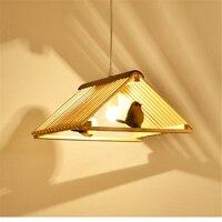 Творческий оригинальный деревянный обеденный стол подвесной светильник огни личность один крючок деревянная птица исследование японский