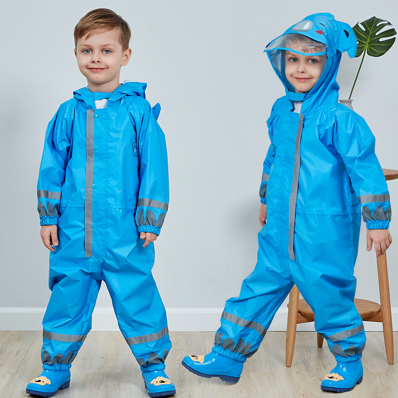 3-8 Years Old Kids Cartoon Waterproof Jumpsuit Raincoat Boys Girls Rainwear Children Poncho Animal Deer Hooded Raincoat Suit