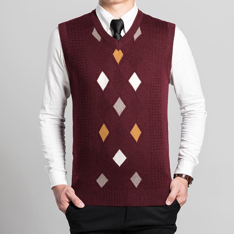 Autumn winter 2016 new mens casual wool sweater vest argyle men ...