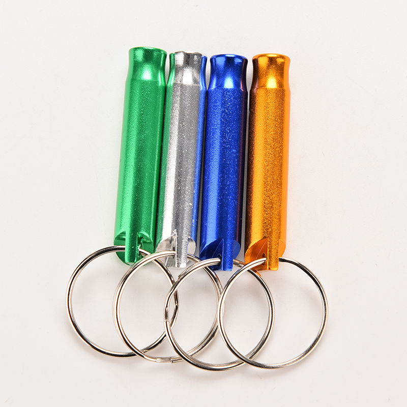 1pc 4 Colors Mixed Aluminum Emergency Survival Whistle Keychain  For Camping Hiking