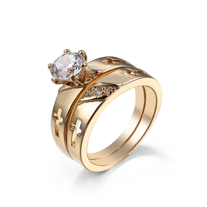 1 Pair Anti Allergy Cubic Zirconia Paved Engagement Jesus Cross couple Rings Sets Gold Color Crystal Wedding Jewelry For Women