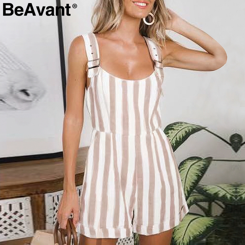 BeAvant Casual striped short dungarees women   jumpsuits   Strap cotton linen rompers Backless casual beach summer overalls playsuit